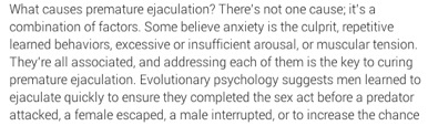 According to Dr. Hernando Chaves, premature ejaculation