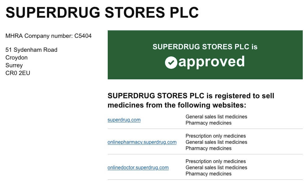 OnlineDoctor.Superdrug.com Review on MHRA